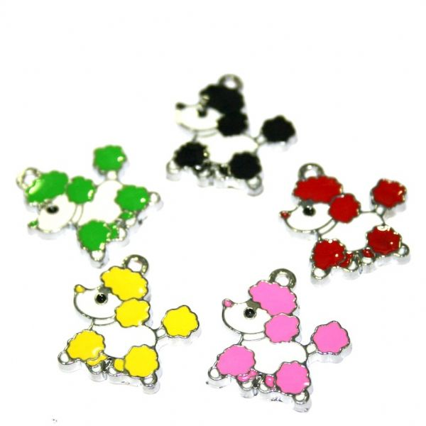 Dog enamel charms